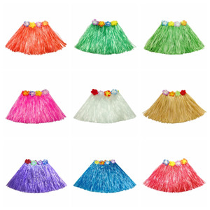 30cm élastiques hawaïenne hula dancer herbe jupe Hawaiian Grass jupes pour enfants Tropical Herb jupe simple couche Festive Party Supplies
