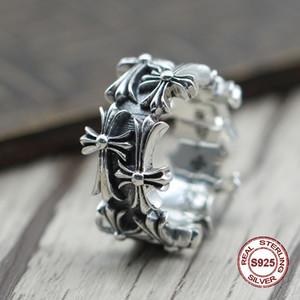 S925 anillo de plata pura para hombre con personalidad retro El estilo punk La cruz gira alrededor del anillo clásico Regalo para su amante