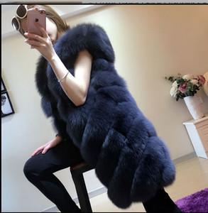 2017 New autumn winter warm  fur vest loose skirt type imitation faux fur vest middle long large size S-XXXL Women Coat