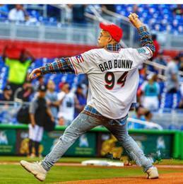 Maimi Bad Bunny Maillot Homme Baseball blanc avec Porto Rico Drapeau pleine Cousu shirt Taille de S-4XL