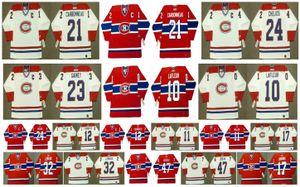 Vintage Montreal Canadiens Jersey 10 Guy Lafleur 32 LEMIEUX 47 STEPHAN LEBEAU 17 Rod Langway 11 Kirk Muller 12 Yvan Cournoyer CCM Hockey