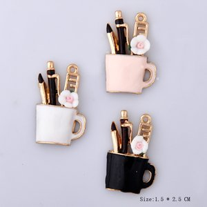 10pcs 15 * 25mm DIY de la manera de la aleación del esmalte Pen taza para la pulsera, colgantes taza de lápiz de metal cuelgan los pendientes fabricación de joyas