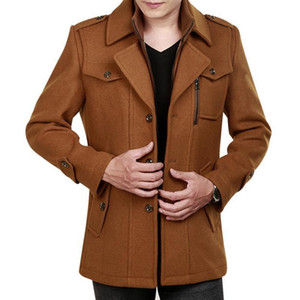 Fleece Jacket Men Autumnl Standing Collar Coat With Pockets Winter Lapel Blends Mens Fashion Zipper Overcoat Plus Size 4XL