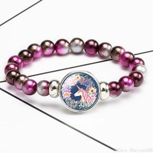 Chridren Unicorn Glass Charm Bracelet Acrylic Bead Chunk Snap Button Elastic Bangle Kids Cartoon Designer Jewelry Christmas Birthday Gift