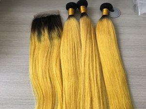 Ombre Feixes de Cabelo Com fechamento Em Linha Reta Amarelo Ombre Lace Encerramento Com Bundles Ombre Cabelo Amarelo Feixes Com Fecho