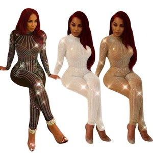 Mulheres Club Party Sexy Long Sleeve Ver Através Rhinestone Diamonds Bodycon Pant Jumpsuit malha Patchwork Preto Branco Damasco magro Romper