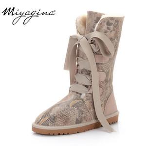 MIYAGINA 2019 nova moda 100% genuíno couro de neve botas de couro austrália mulheres clássicas botas sapatos inverno quente para as mulheres