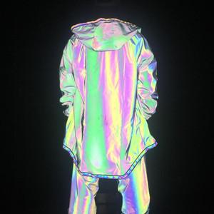 Мужчины Красочные Полный Светоотражающие Длинные куртки с капюшоном Street Dance Ночной клуб Блестящая Dazzle Открытый Бег Досуг Ветровка Coat