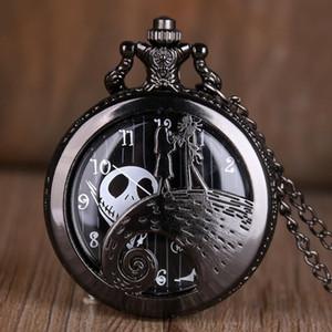악몽 전에 크리스마스 석영 포켓 시계 골동품 블랙 스틸 남성 여성 펜던트 목걸이 시계 선물 Fob 시계