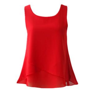 Banerdanni Kadınlar Şifon Bluz 2019 Yeni Varış Yaz Kolsuz O-Boyun Rahat Kadın Bluzlar Artı Boyutu 6xl Katı Renk Gömlek MX19070501
