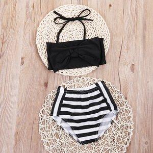 Niño niños bebés Tankini Bikini de traje de baño de baño ropa de playa 2020 traje de baño de los niños raya Biquni Trikini