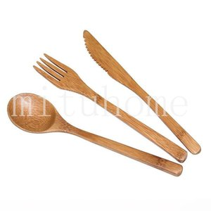 Nuevo Set de cubiertos de bambú de bambú natural Cuchara Tenedor Cuchillo de vajilla para adultos estilo japonés de bambú Jam Cubiertos