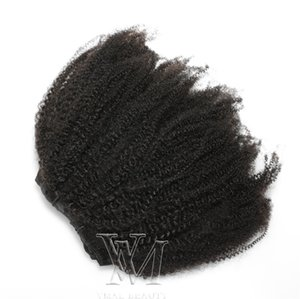 Hot Brazilian Afro Kinky Curly Real Virgin Human Hair Clip In 4B 4C Natural Color Clip In Hair Extensions 100g 120g 160g
