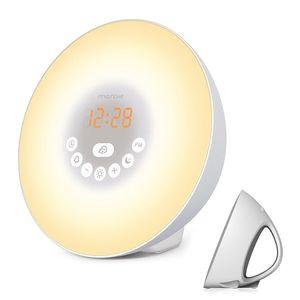 Sensor táctil inteligente natural sunrise simulado brillo de color ajustable luz de despertador led con radio reloj despertador FM