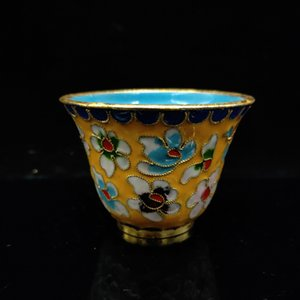 Chinese Antique Filigree enamel Flowers Pattern Cup JTL067