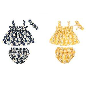 pudcoco Verão Bebés Meninas impressão flor Boho férias Clothes definir Duas peças infantil Sweet Girl Ruffle Vest Shirt Shorts sunsuit