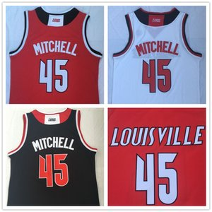 NCAA Men # 45 Donovan Mitchell Negro Louisville Cardinals jerseys del baloncesto Rojo Blanco universitarios camisas cosido parches bordados