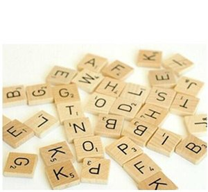 100Pcs set English Words Wooden Letters Alphabet Tiles Black Scrabble Letters & Numbers For Crafts Wood Alphabet Toy