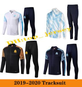 2019 olympique de Marseille Hommes Soccer Jacket Tracksuit 19 20 Thaauvin Om Marseille Maillot de Foot Foot Football Formation à fermeture à glissière complète 2020