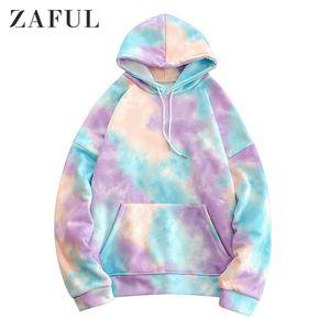 ZAFUL hoodies camisolas Homens Kangaroo bolso Tie Dye pulôver 2019 Coreia do inverno Estilo Oversized Hoodies Streetwear