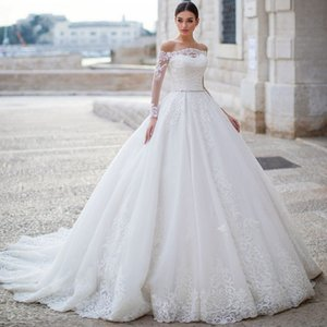 Glamorous A-Line Wedding Dresses 2020 Appliques Sashes Beaded Lace Elegant Boat Neck Long Sleeves Vintage Bridal Gowns