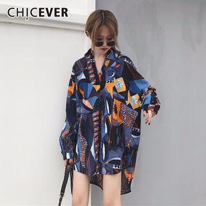 CHICEVER Chiffon Print Hit Color Women's Blouse Lapel Collar Long Sleeve Asymmetric Summer Shirts Female Casual Fashion 2020 New