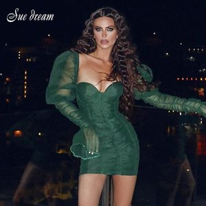 2020 New Autumn Womens Retro Long Sleeve Strapless Draped Mini Green Mesh Sexy Bodycon Celebrity Party Christmas Dress Vestidos
