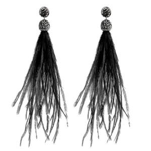 YJSFG HOUSE Bohemian Ostrich Feather Feather Earrings jewelry Fashion Tassel Dangle Drop Earring for Women Christmas gift