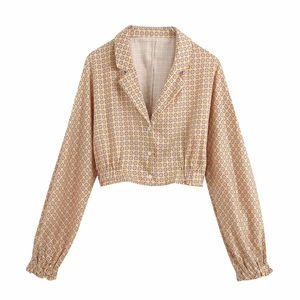 New 2020 women vintage geometric floral printing casual smock blouse ladies lantern sleeve kimono shirts chic blusas tops LS6598