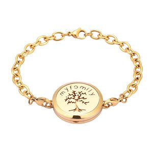IJL3078 Edelstahl My Family Tree Aromatherapie Armband Ätherische Öle Diffusor Parfüm Free12 Pads Memorial Memorial Armband