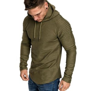 New Men's Round Neck Slim Striped Pleated Raglan Sleeve Solid Color Hooded Long Sleeve Sports T-Shirt