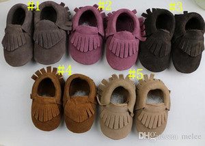 new arrive 2015 baby suede Genuine Cow leather moccasins soft fringe moccs 5 color boys girls moccasins first walker Anti-slip shoes 18pairs