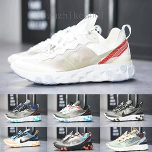 2020 React Element 87 55 designer Running Shoes Men Women Casual Airs Shoes Light Bone 87s Triple Black Bred Team Trainers Sports ND692