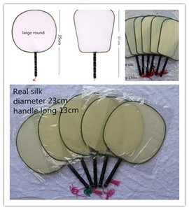 Blank White Round Silk Fan Wooden Handle Tassel Students Children DIY Fine Art Painting Program Chinese Hand Fans 10pcs lot