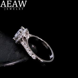 AEAW 6.5mm 1.0ct Rundschnitt 14 Karat Weißgold Gelbgold Moissanite Ring Original-Dazzling Schmucksachen für Mädchen für Frauen