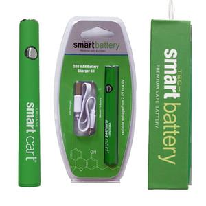 스마트 카트 배터리 녹색 스마트 카트 380mAh 예열 Vv 가변 전압 배터리 바닥 USB 충전기 510 나사 vape 배터리