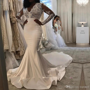 2020 Vintage Long Sleeve V-Neck Lace and Satin Mermaid Wedding Dresses New Arrival Plus Size Ruffle Long Train Zipper Back Bridals Gown