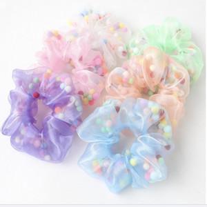 6 цвет эластичный Каваи цветной шерстяной шар волос группа галстук ванна цветок мяч оголовье резинка для волос конский хвост аксессуары для волос MJJ266