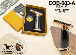 New Arrival COHIBA Multifunctional Flame Lighter 4 Torch Windproof Refillable Butane Gas Cigar jet Lighter Two Colors Lighter W Gift Box