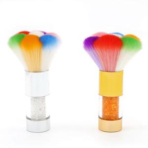 Pinceaux de maquillage colorés acryliques de maquillage de poussière de décapant d'ongle avec la brosse de nettoyage de diamant