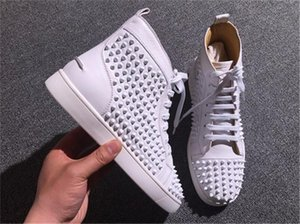 Hot Sell Men Women Luxury Shoes Outdoor Walking High -Top Sneakers Studs Spikes Woman Flat Men New Brand Red Bottom Casual Flats Shoes