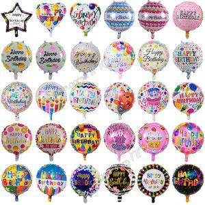 Gonflable joyeux anniversaire fête ballons décorations fournitures 18 pouces bande dessinée bande dessinée hélium feuille ballon enfants fleurs anniversaire ballons jouets