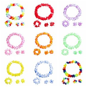 Fleurs hawaïennes colorées Tropical Flower Garland Collier Bracelets Bandeau ensemble 4pcs Tropical Beach Costume Party Decorations Fournitures