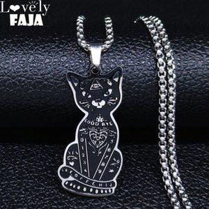 AFAWA 2020 Cat Colore Witchcraft Pentagram dell'acciaio inossidabile del nero dei pendenti delle collane uomini / donne per le donne Gioielli Joyas N3314S02