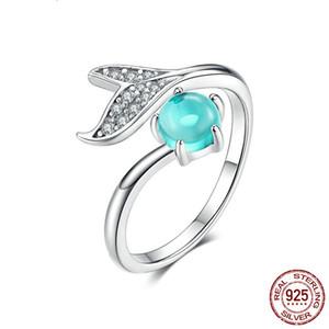 Mermaid Ring 925 Sterlingsilber Blau Glas Ozean Stein Träne Fish Tail Ringe für Frauen öffnen Ring Schmuck Ring Damen