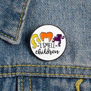 나는 어린이 에나멜 핀 정의 할로윈 브로치 옷깃 브로치 핀 셔츠 가방 라운드 배지 재미 보석 선물 키즈 친구 냄새