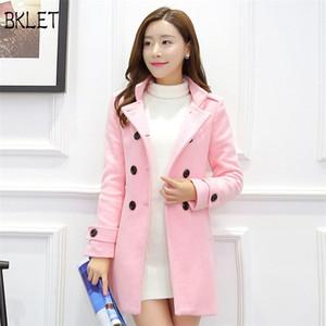 2018 Hiver New Korean Office Lady Revers Manteau En Laine Femme Vêtements Longs Slim Double-breasted Rose Bleu Manteau En Laine