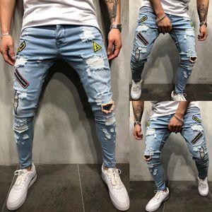 Homens denim rasgado buraco Jeans Magro patchwork Jeans Moda Hip hop magro lápis For Men homme estiramento bordados