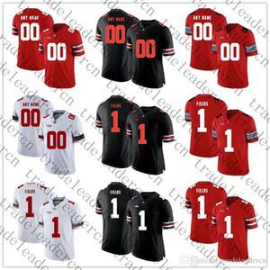 Mens Youth # 1 Justin Fields Cualquier nombre Cualquier número Personalizado OSU Ohio State Buckeyes Local Visitante Rojo Negro Blanco Personalizado Camisetas de fútbol universitario