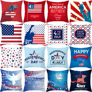 4th of july American flag Pillows Case Stars stripes Letter printing Pillow Cover 45*45cm Sofa Nap Cushion Covers Home Decoration 35 styles